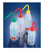 Wash Bottles, LDPE Sloped Shoulder Plastic Wash Bottles w/Color Coded Labels