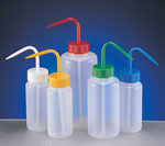 Wash Bottles, LDPE Wide Mouth Plastic Wash Bottles w/ Colored Caps