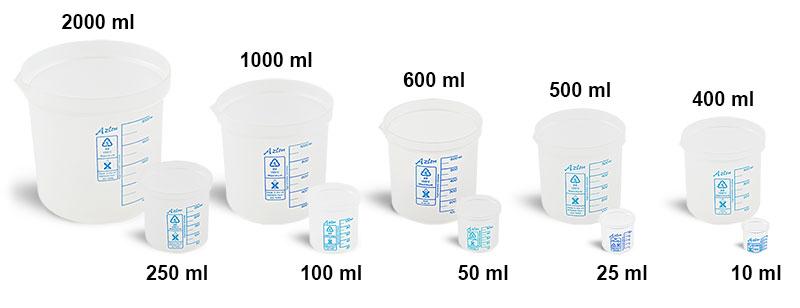 Plastic Beakers, Natural Polypropylene Square Ratio Beakers w/ Graduations