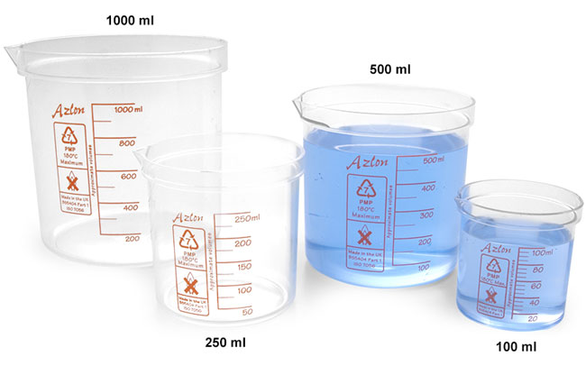 Plastic Beakers, PMP Square Ratio Beakers w/ Red Graduations