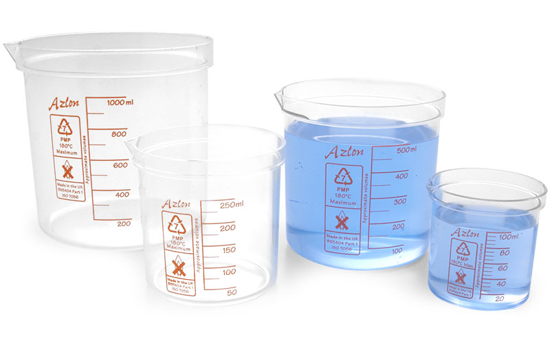 Plastic PMP Beakers w/ Red Graduations