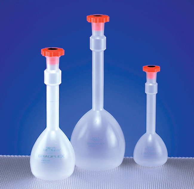 Polypropylene Plastic Volumetric Flasks w/ Stoppers