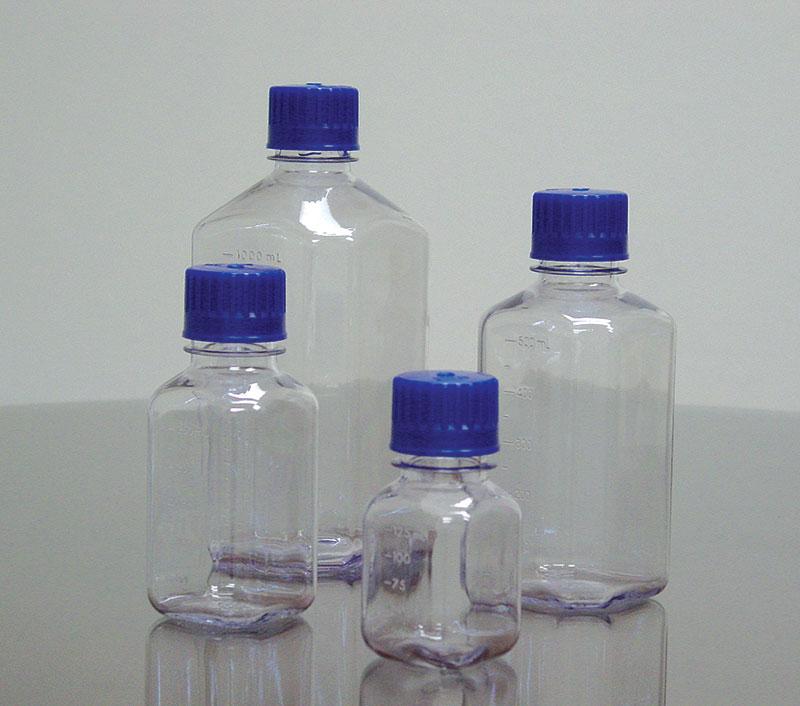Clear Polycarbonate Plastic Square Media Bottles w/ Caps