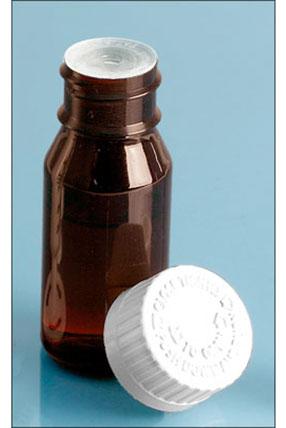 Amber PET Bottles w/ Self-Healing Orifice Reducers & Child Resistant Caps