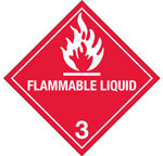 "Hazardous Labels, Hazard Class 3 ""Flammable Liquid"" Printed Laboratory Labels"