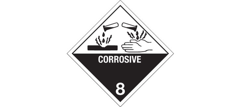 "Hazardous Labels, Hazard Class 8 ""Corrosive"" Printed Laboratory Labels"