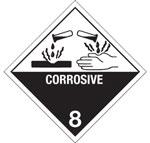 Corrosive Hazardous Labels, Class 8