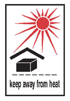 "Hazardous Labels, ""Keep Away From Heat"" Printed Laboratory Labels"
