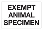 Exempt Animal Specimen Hazardous Labels
