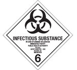 Infectious Substance Hazardous Labels, Class 6.2