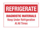 "Hazardous Labels, ""Refrigerate Diagnostic Materials"" Printed Laboratory Labels"
