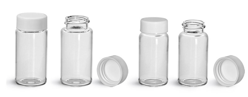 Glass Lab Vials, Clear Glass Scintillation Vials w/ White PE Lined Polypropylene Caps