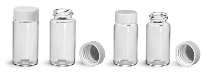 Glass Lab Vials, Clear Glass Scintillation Vials w/ Metal Foil Lined Polypropylene Caps