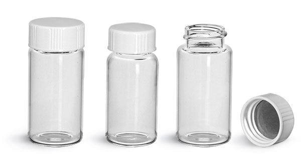 Glass Lab Vials, Clear Glass Scintillation Vials w/ Metal Foil Lined Urea Caps