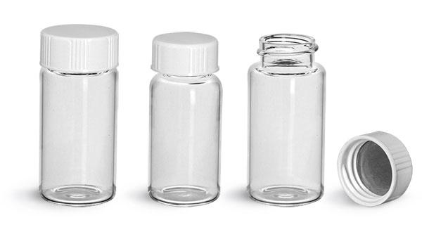 Glass Lab Vials, Clear Glass Scintillation Vials w/ Metal Foil Lined Urea Caps