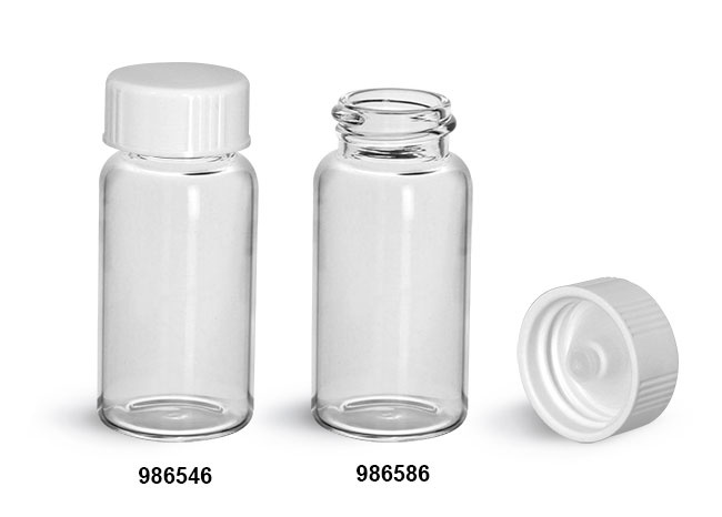 Glass Lab Vials, Clear Glass Scintillation Vials w/ White Polyseal Cone Lined Urea Caps