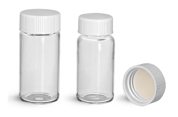 Glass Lab Vials, Clear Glass Scintillation Vials w/ PE Lined Urea Caps