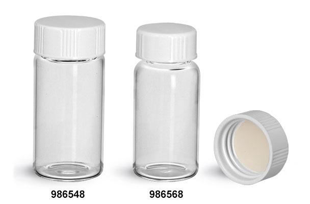 Glass Lab Vials, Clear Glass Scintillation Vials w/ PE Lined Urea Caps