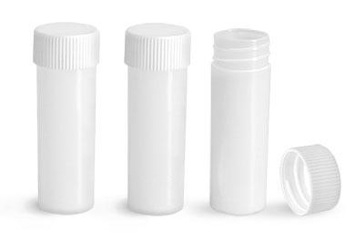 Plastic Lab Vials, Natural HDPE Scintillation Vials w/ White Unlined Polypropylene Caps