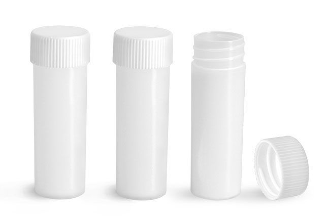 Plastic Lab Vials, Natural HDPE Scintillation Vials w/ White Unlined Polypropylene Caps