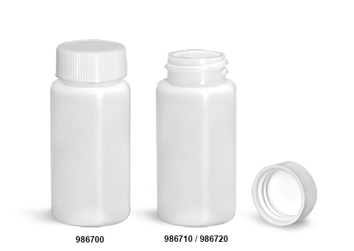 Plastic Lab Vials, Natural HDPE Scintillation Vials w/ White PE-F217 Lined Polypropylene Caps