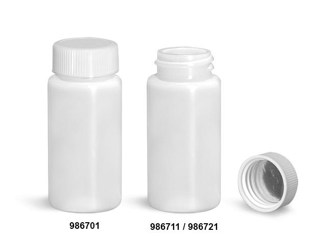 Plastic Lab Vials, Natural HDPE Scintillation Vials w/ Metal Foil Lined Polypropylene Caps