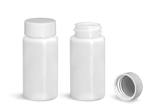 Plastic Lab Vials, Natural HDPE Scintillation Vials w/ White Metal Foil Lined Urea Caps