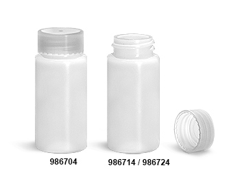 Plastic Lab Vials, Natural HDPE Scintillation Vials w/ Natural Unlined PE Caps