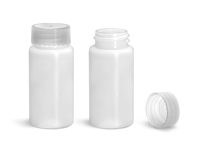 Plastic Lab Vials, Natural HDPE Scintillation Vials w/ Natural Unlined PE Caps