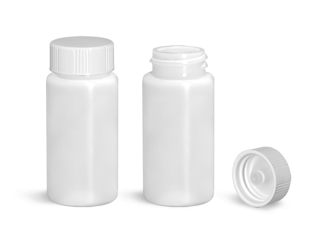 Plastic Lab Vials, Natural HDPE Scintillation Vials w/ White Polyseal Cone Lined Urea Caps