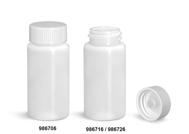 Plastic Lab Vials, Natural HDPE Scintillation Vials w/ White Polyseal Cone Lined Urea Caps
