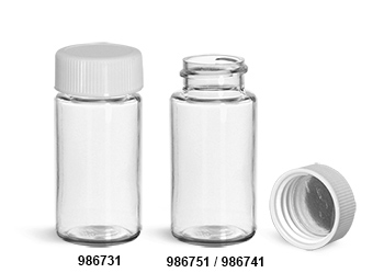 Plastic Lab Vials, Clear PET Scintillation Vials w/ White Polypropylene Metal Foil Lined Caps