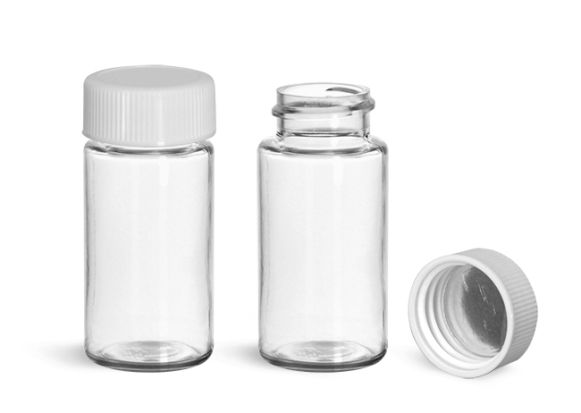 Plastic Lab Vials, Clear PET Scintillation Vials w/ White Polypropylene Metal Foil Lined Caps