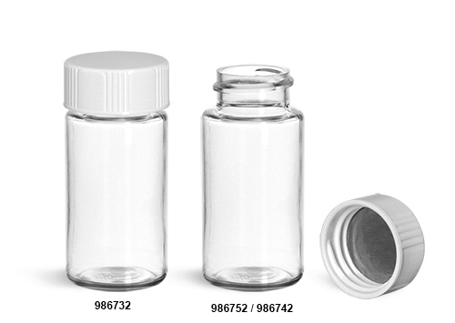 Plastic Lab Vials, Clear PET Scintillation Vials w/ Metal Foil Lined Urea Caps