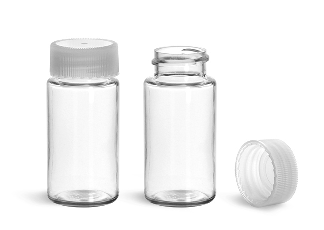 Plastic Lab Vials, Clear PET Scintillation Vials w/ Natural Unlined Polypropylene Caps