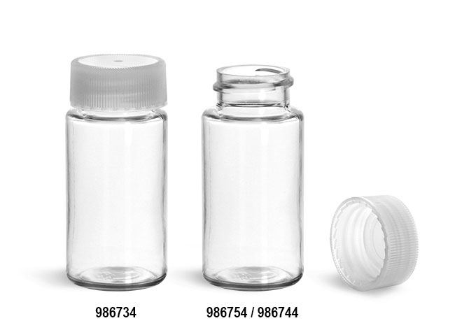 Plastic Lab Vials, Clear PET Scintillation Vials w/ Natural Unlined Polypropylene Caps