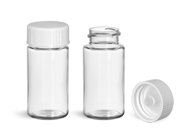 Plastic Lab Vials, Clear PET Scintillation Vials w/ White Polyseal Cone Lined Urea Caps