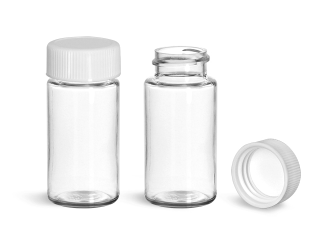Plastic Lab Vials, Clear PET Scintillation Vials w/ PE-F217 Lined Polypropylene Caps