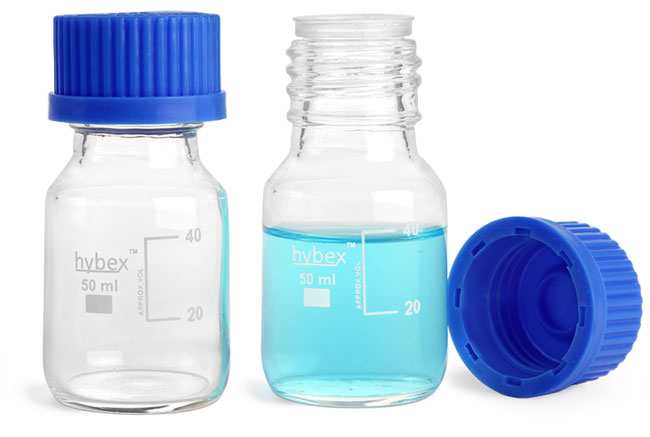 Glass Laboratory Bottles, 50 ml Clear Glass Media Bottles w/ Blue Caps