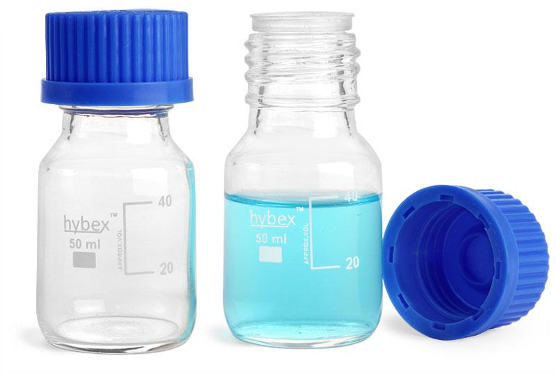 Clear Glass Media Bottles w/ Blue Plastic Caps