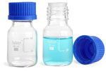 Clear Glass Media Bottles w/ Blue Plastic Caps
