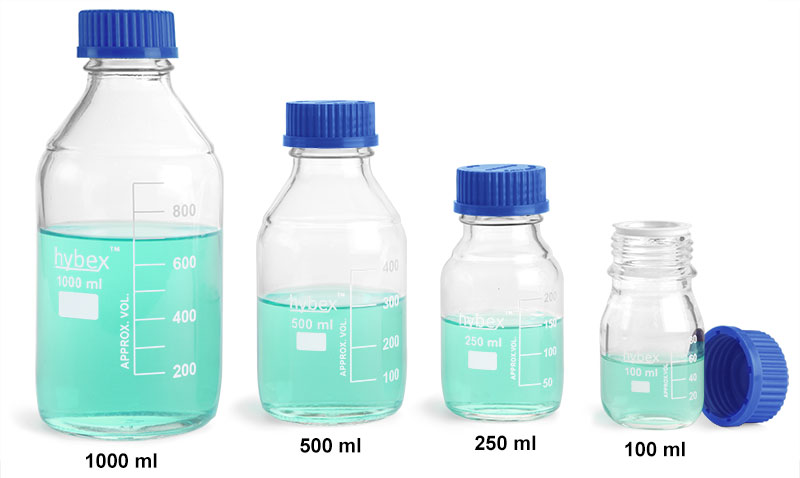 Glass Laboratory Bottles, Clear Glass Media Bottles w/ Blue Caps, Starter Kit