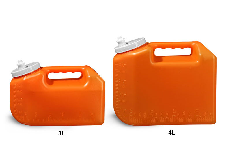 Lab Bottles, 24 Hour Urine Collection, HDPE Orange Bottle, Spout Cap