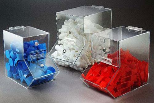 Laboratory Storage, Clear Acrylic Dispensing Bins w/ Door Magnets