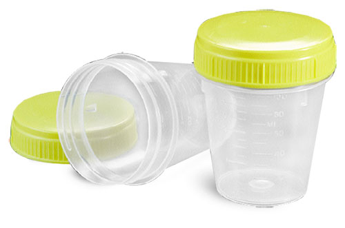 Sample Containers, Disposable Polypropylene Specimen Containers w/ Screw Caps