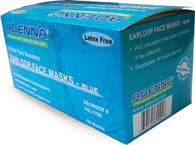 Blue Earloop 3-Ply Face Masks, 50 Masks Per Box