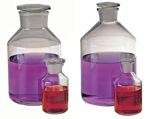Glass Reagent Bottles with Glass Stoppers