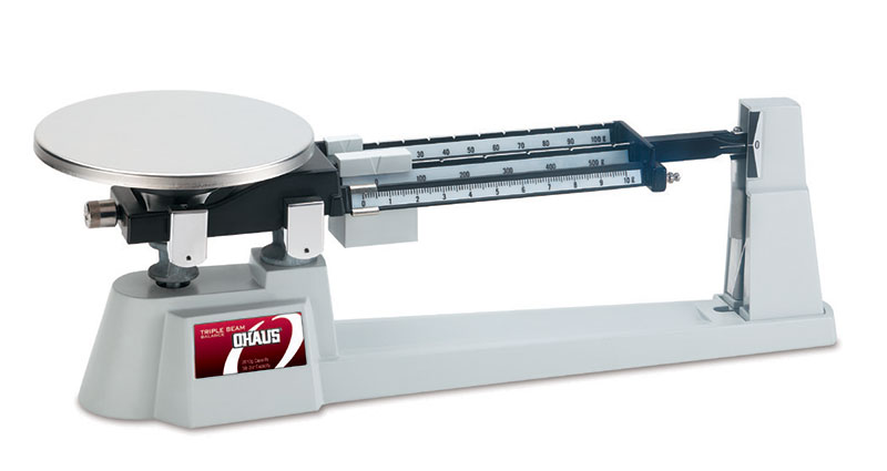Ohaus Scales, Triple Beam Balance, Stainless Steel Plate and Tare Beam