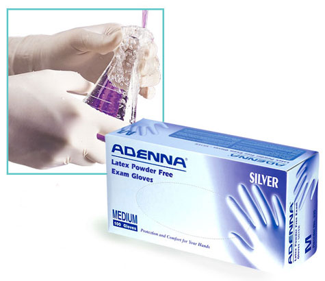 Disposable Gloves, Powder Free Silver Latex Gloves