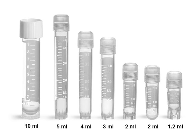 Plastic Lab Vials, Sterile Polypropylene Cryogenic Vials w/ Silicone Washer Seals & External Threads